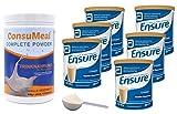 Trinknahrungs Pulver Set: 6 Dosen Abbott Vanille 400g + 1 Dose ConsuMeal Complete Powder 950g