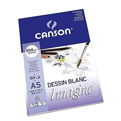Canson Imagine Papier à dessin 50 feuilles A5 14,8 x 21 cm Blanc Pur
