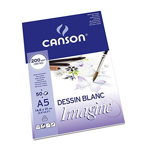Preisvergleich Produktbild Canson 200006009 Imagine Mix-Media Papier, A5, rein weiß