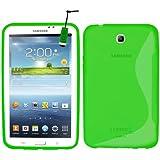 """Samrick - Carcasa para Samsung Galaxy Tab 3 de 10,1"""" (hidrogel, protector de pantalla, gamuza de microfibra y mini lápiz capacitativo) verde verde P3200 & P3210 Galaxy Tab 3 (7.0)"""