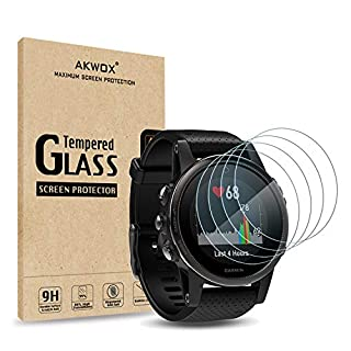 (Pack of 4) Tempered Glass Screen Protector for Garmin Fenix 5S, Akwox [0.3mm 2.5D High Definition 9H] Premium Clear Screen Protective Film for Garmin Fenix 5S
