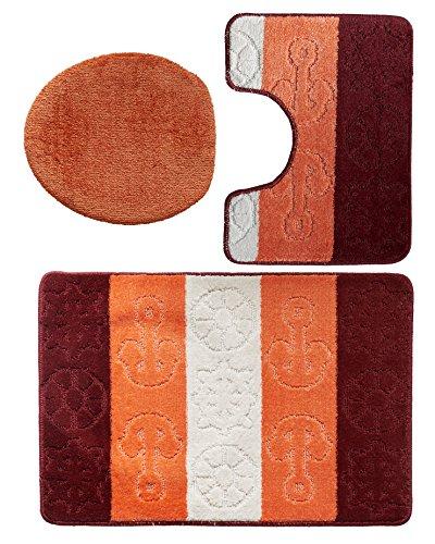 Gökyildiz 3 teiliges Badgarnitur Set Titanik Muster mit Ausschnitt - Badteppich 85x55 Badematte (Bordeaux-Salmon-Beige)