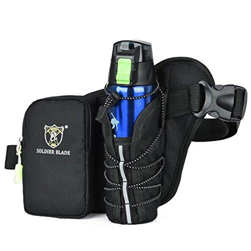 LJ Sport Unisex Sport Bauchtasche Hüfttasche Wasserdicht mit Flaschenhalter für Radsport Bergsteigen Schwarz