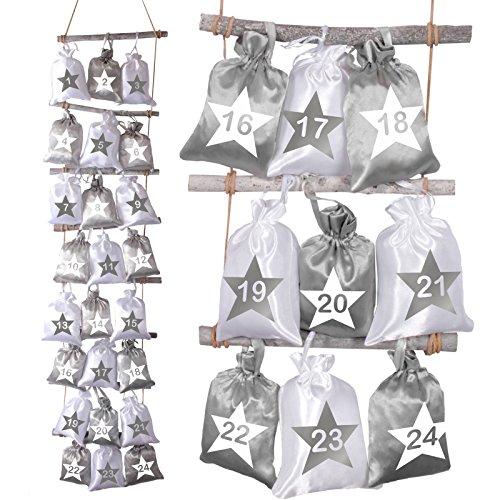 XXL Adventskalender von Adventino mit 24 Satinsäckchen Duo Sterne zum Befüllen, inkl. Strick-Leiter aus Holz