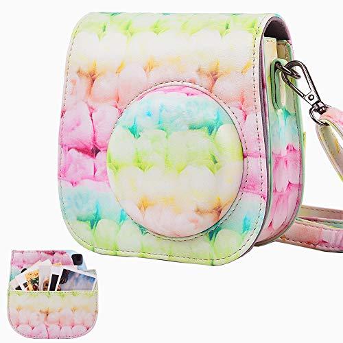 SAIKA Tasche Hülle für Fujifilm Instax Mini 9/8/8 + Sofortbildkamera, Vintage Compact Schutztasche mit Schultergurt & Tasche (Farbige Seide)