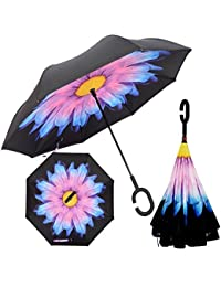 iNeibo Inverted Reverse Umbrella,Waterproof UV Inside Out Upside Down Protection Heavy Straight Umbrella with Innovative Comfort Grip Handle and Car Outdoor Use With C-Shaped