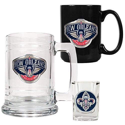 NBA New Orleans Hornets 15-ounce Bierkrug, 15-ounce Keramik Tasse &-/Bratenspritze Shot Glas Set–Primary Logo (New Orleans Kaffee-tasse)
