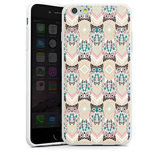 Apple iPhone X Silikon Hülle Case Schutzhülle Eulen Pastell Muster Silikon Case weiß