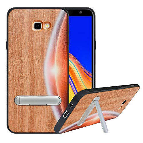 HHDY kompatibel mit Samsung Galaxy J4 Plus /J4 Prime / J4 Core Hülle,Metallständer Kickstand Handyhülle,Schutzhülle aus Hart Holz Soft TPU Bumper,Anti Scratch Wood Cover Case Handyhülle, Moon