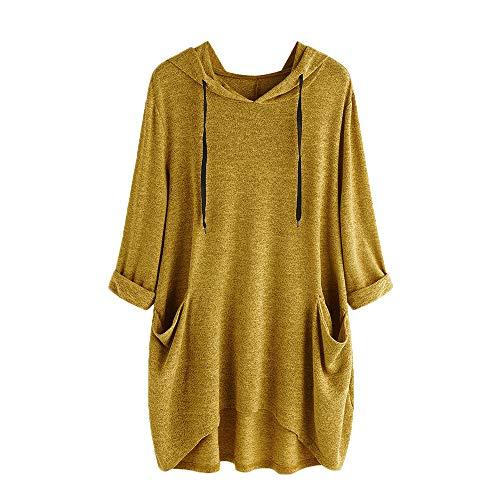 he Lose Kleid Damen Rundhalsausschnitt beiläufige Tägliche Lange Tops Kleid Plus Größe(Y2-Gelb, EU-48/CN-XL) ()