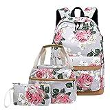 Neuleben Schulrucksack & Kühltasche & Geldbörse Rucksack Schulranzen mit USB Ladeanschluss Blumenmuster Schultaschen 3 Set für Damen Mädchen (Grau)