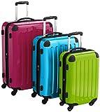 HAUPTSTADTKOFFER - Alex - 3er Koffer-Set Hartschale glänzend Unisex, (S, M & L), 235 Liter, Mehrfarbig (Apfelgrün-blau-Magenta)