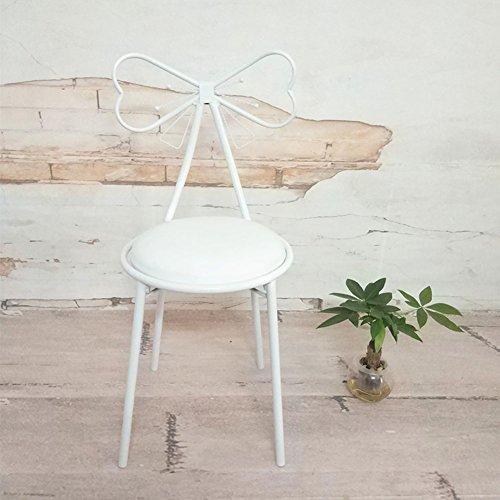 Full Love House® Schminkstuhl Kreativ Bowknot Eisen Nordeuropa Einfache und Moderne Freizeit Rückenlehne Stuhl Restaurant Stuhl Esszimmerstuhl (Farbe : Weiß)