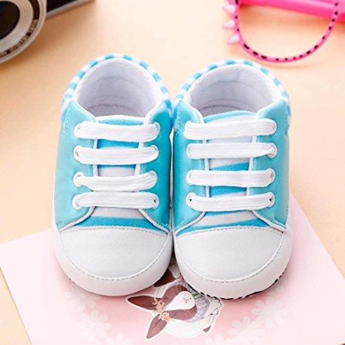 BZLine® Cuir Artificiel Chaussures au lacet, à Semelle souple, Anti-glissant pour Bébés Filles 0-18Mois Bleu clair