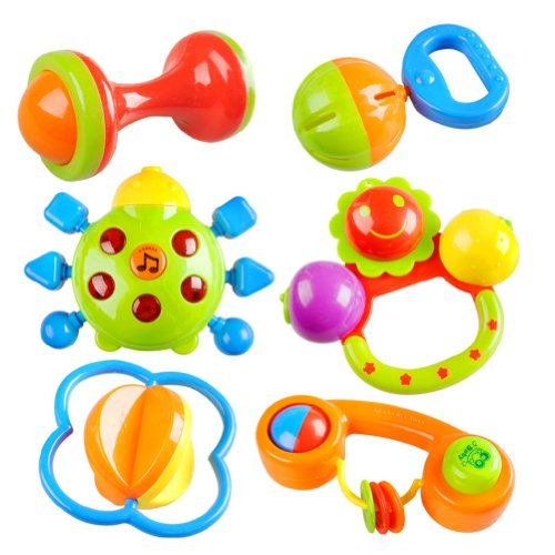 Peradix Safe Colourful Plastic Baby Nursery Hand Bell Hand Shake Rattle with Music amp; Light