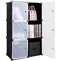 Organizador de cubos de almacenamiento de 6 cubos, 3 estantes de plástico para armarios, estantes organizadores con puerta, color negro y blanco