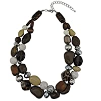 BOCAR 2 Layer Statement Chunky Green Beaded Fashion Necklace for Women Gifts (NK-10384-brown)