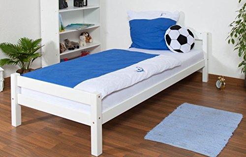 Einzelbett / Jugendbett Markus Buche Vollholz massiv in Weiß inkl. Rollrost - 90 x 200 cm