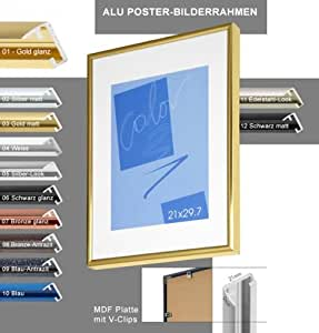 2 wahl alu bilderrahmen 50x70 cm schwarz matt acrylglas. Black Bedroom Furniture Sets. Home Design Ideas