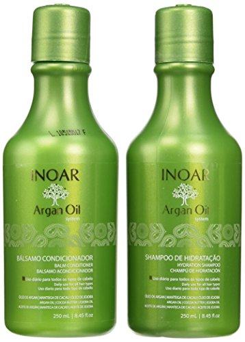 Inoar Duo Argan Oil Progress Shampoo and Conditioner Kit, 250 ml