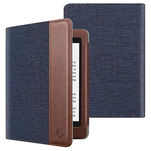 Fintie Folio Hülle für Kindle Paperwhite (alle Generationen 2012-2018) - Stoff Schutzhülle Tasche mit Auto Sleep/Wake Funktion für Amazon Kindle Paperwhite eReader, Denim Marineblau