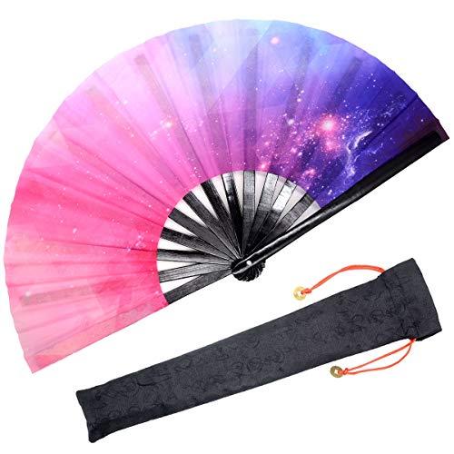 OMyTea Großer Faltbarer Handfächer für Herren/Frauen - Chinesisch/Japanischer Kung Fu Tai Chi Handfächer mit Stofftasche - für Performance/Dekorationen/Tanzen/Kämpfe/Geschenk Galaxy Dream