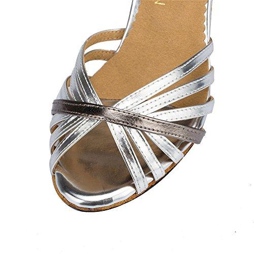 Mesdames Mode Confortable Confortable Chaussures De Danse Lamba Chaussures Chapelle Argent 6cm