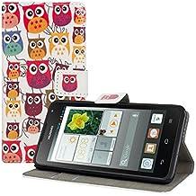 kwmobile Funda para Huawei Ascend Y530 - Wallet Case plegable de cuero sintético - Cover con tapa tarjetero y soporte Diseño Familia de búhos multicolor en multicolor rosa fucsia blanco