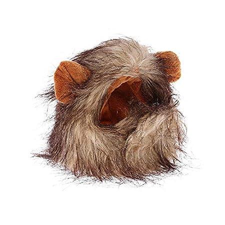 Goodplan 1 STÜCKE Kreative Pet Lion Mähne Perücke Lustige Pet Lion Haar Kopfbedeckungen Pet Headwear Kühlen Kostüm für Festival Party Cosplay Braun