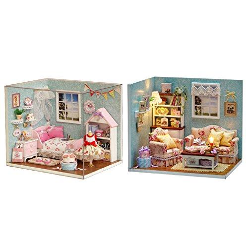 MagiDeal 2 Sets Miniatur Puppenhaus Mini Haus LED Licht Möbel DIY Dollhouse Kit Mit Abdeckung Staubschutz Geschenk - Schlafzimmer + Wohnzimmer (Miniatur-licht-set)