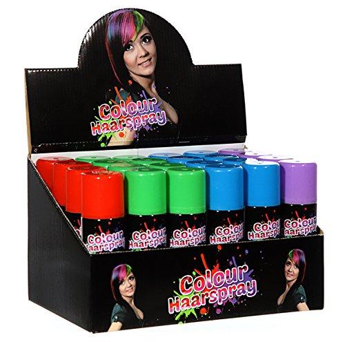 diverse 6 Dosen Colour Haarspray in 4 Farben, Verkleiden Verkleidung Disco Kostüm, Karneval, Fasching, Halloween, Party, Event, Dekoration Junggesellenabschied Polterabend