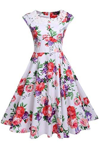 cooshional Damen Vintage Kleider Abendkleider Retro Rockabilly ...