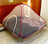 #10: Story@Home Foldable Mosquito Net For Double Bed With Soft MeshAnd 2 Sides Zippers For Door - Pink
