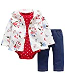 Kidsform Unisex Baby Outfit Set Body Romper Baumwolle bodysuit 3 Pack Hoodie Hosen Jacke jumpsuit White 6M