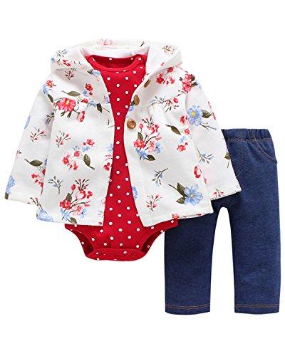 Kidsform Baby Unisex 3 Pack Romper Set Langarm Strampler Lange Hosen Jacke Outfits Body Weiß 9M