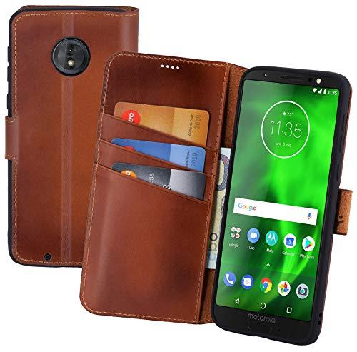 Suncase Book-Style kompatibel für Motorola Moto G6 Hülle (Slim-Fit) Leder Tasche Handytasche Schutzhülle Case (mit Standfunktion und Kartenfach - Bruchfester Innenschale) in Burned - Cognac