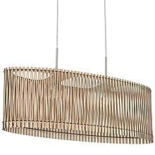 EGLO Sendero Pendant Light 2-Bulb Vintage Natural Boho Steel Pendant Light in Nickel Matt Maple Wood Dining Table Lamp Living Room Lamp Hanging with E27 Socket L 77.5 cm