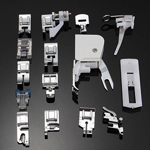 icase4u® Kit de 11/15 Piezas Multifuncional Prensatelas Accesorios para Máquina de Coser Presser Foot Feet Kit Machines Set (Kit de 15 Piezas)