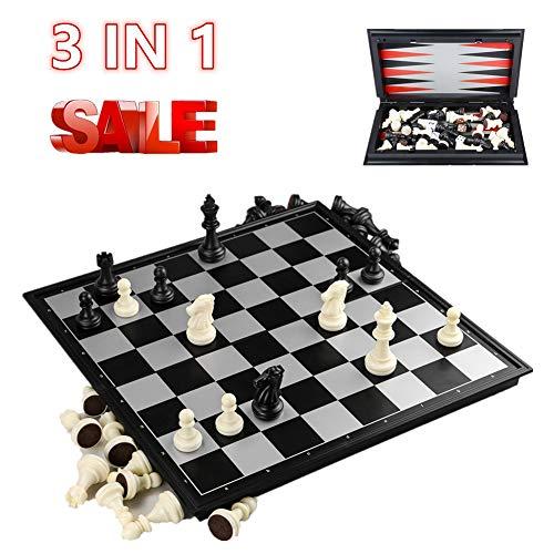 DQTYE Gioco di scacchi magnetico da viaggio Scacchi / Dama / Backgammon Set 3 in 1 per scacchiera pieghevole per bambini o adulti 9,8 x 9,8 x 0,8 pollici