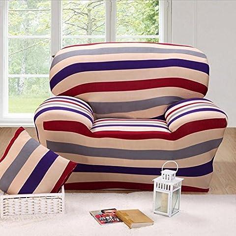 Housse de canapé élastique Imprimé à rayures Slipcover étroite Wrap complet Housse de canapé d'angle stretch couvertures de meubles 1/2/3places, 001, 2 seater:145-185cm