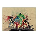 Aquarelle Héros Film/Marvel Comics Héros Set/Papier Kraft/Affiche Bar/Stickers Muraux/Affiche Rétro/Peinture Décorative 51X35.5Cm