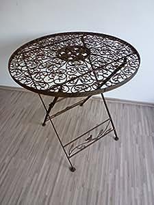 Gartentisch Klapptisch Metalltisch Tisch Metall rund 70 cm WK070828