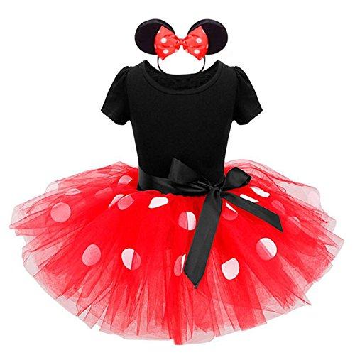 gs Kleinkind Baby Mädchen Kinder Kostüm Halloween Weihnachten Ballettkleid Party Hochzeit Polka Dots Tutu mit Stirnband Kleid +Ohren Rot/1300 (Dot, Dots Halloween)