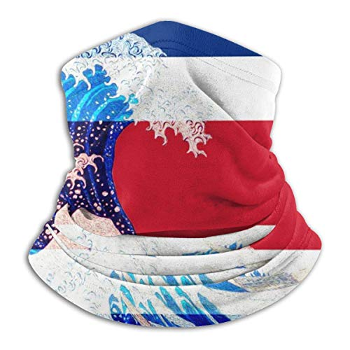 Haloxa Seamless Face Mask Bandanas Neck Warmer Scarf Gaiter Costa Rica Flag And Wave Off Kanagawa For Dust Outdoors Festivals Sports Windproof Men And Women