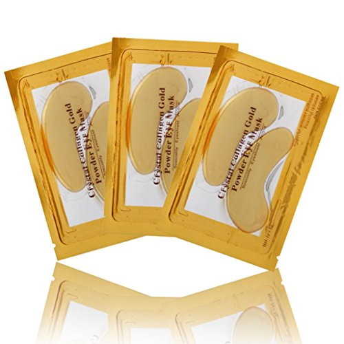 Coolster 24k Gold Auge Collagen Auge Zonenauflage Patches Kristall Gel Maske Falten Anti Aging (Gold Maske Rot Und)