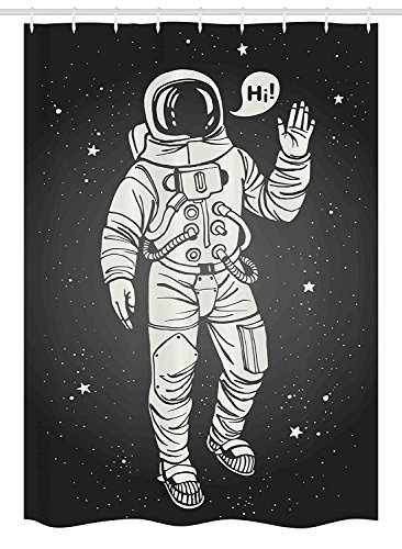 Outer Space Decor Stall Shower Curtain by, Pop Art Astronaut Saluting with Speech Bubble Comet Adventure Traveler, Fabric Bathroom Decor Set with Hooks, 36 W x 72 L Inches, Biege Black