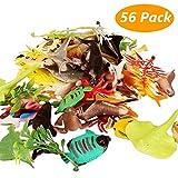 Joylink Meerestiere Spielzeug, 56 Stück Badespielzeug Figuren Mini Vinyl Plastik Tiere als Spielzeugset, Realistisch Unterwasser Tiere für Kinder