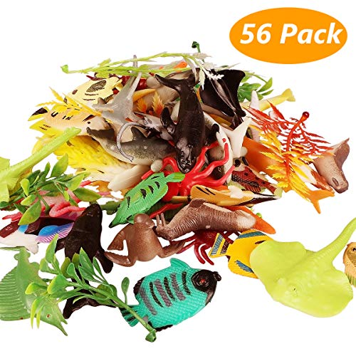 Marine Animal Wake, 56 Assortment Marine Animal Realistic Underwater Wildlife for Play in the Bath, Educational Sea Party, Cake Ornament or Cupcake