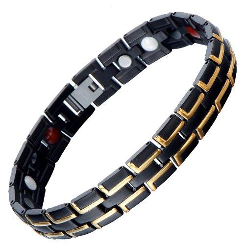 Bracciale da Uomo, Acciaio Inossidabile, La Elemento con Magneti e Germanio, Link, Braccialetto, Nero e Oro Due Toni