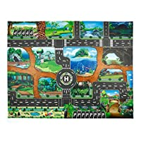 JYC Store Kids Rug/Play Mat with Dinosaur World Traffic Roads Map for Cars & Train Game Toy - Children Play Carpet Boy Girl Nursery Playroom Play Mat
